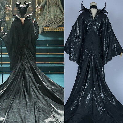 Movie Maleficent Angelina Jolie Costume Halloween Cosplay Outfit Fancy Dress