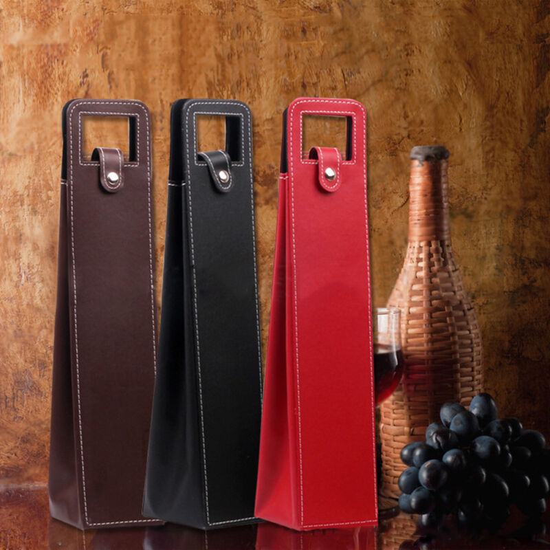 3x Single Bottle Drink/Wine/Beer Faux Leather Bag Tote Carrier Cooler Xmas Case