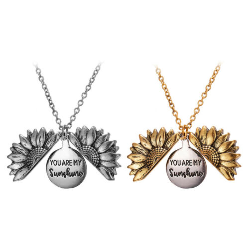 You are my sunshine Open Locket Sunflower Pendant Chain Necklace Jewelry Gift US 3