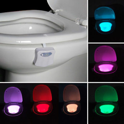 8 Colors Lamp Toilet Bowl Night Light LED Motion Activated  Seat Sensor Bathroom 2