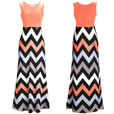 Boho Womens Long Maxi Dress Striped Summer Casual Evening Party Beach Sundress