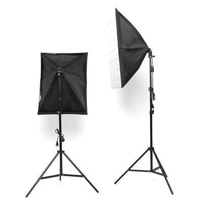 Studio Photography Softbox Lighting Kit Background Stand Free 3 Backdrop Clamps 4