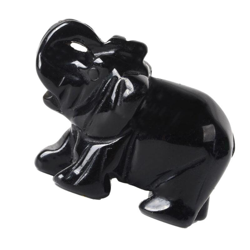 Red Jade /Black Obsidian Carved Elephant Animal Statue Stone Crystal Home Decor