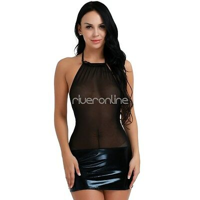 Damen Sexy Dessous Transparent Wetlook Minikleid Neckholder Clubwear Bodycon 3