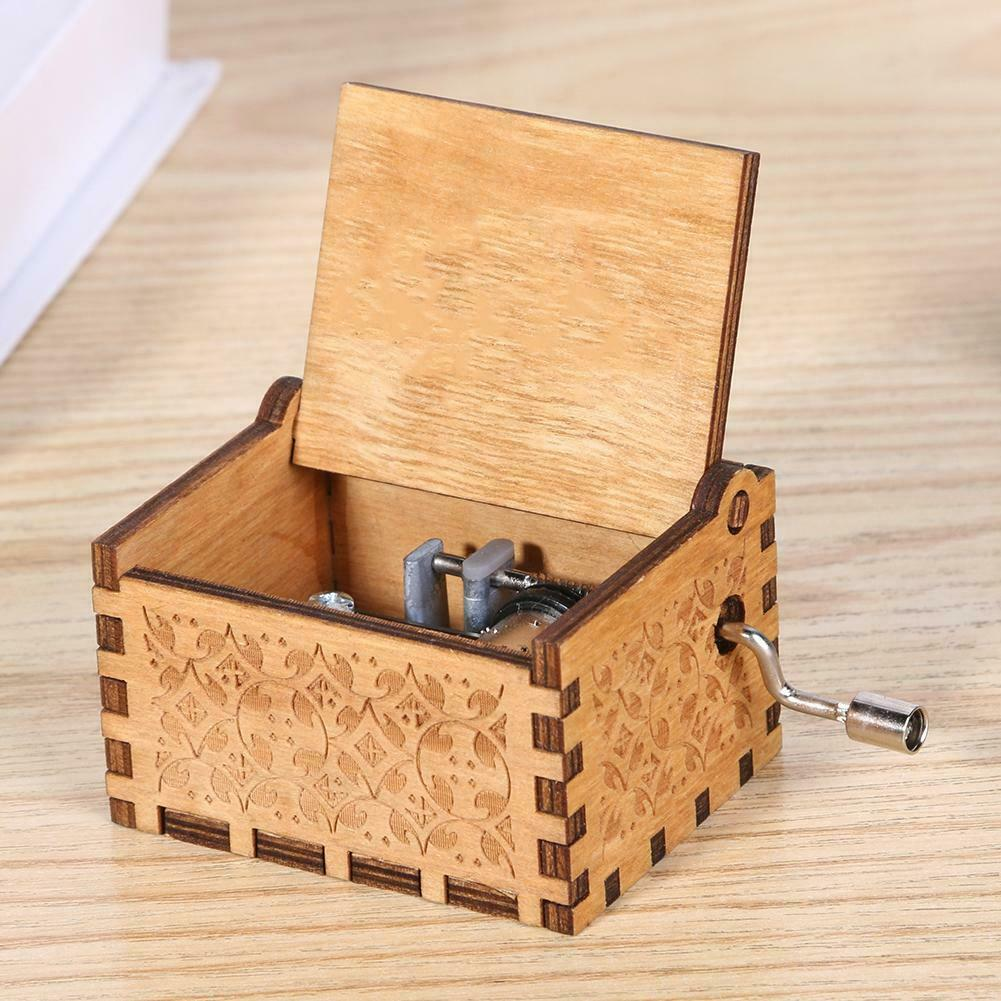 Game of Thrones engraved Handmade Wooden music Box Harry Potter Star Wars Toys 8