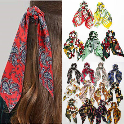 Boho Print Ponytail Scarf Bow Elastic Hair Rope Tie Scrunchies Ribbon Hair Bands 3