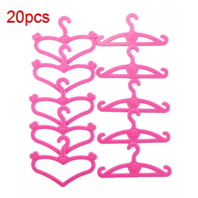 20pcs Plastic Clothes Rack Coat Hanger Wardrobe Hangers for Barbie Dolls Gifts