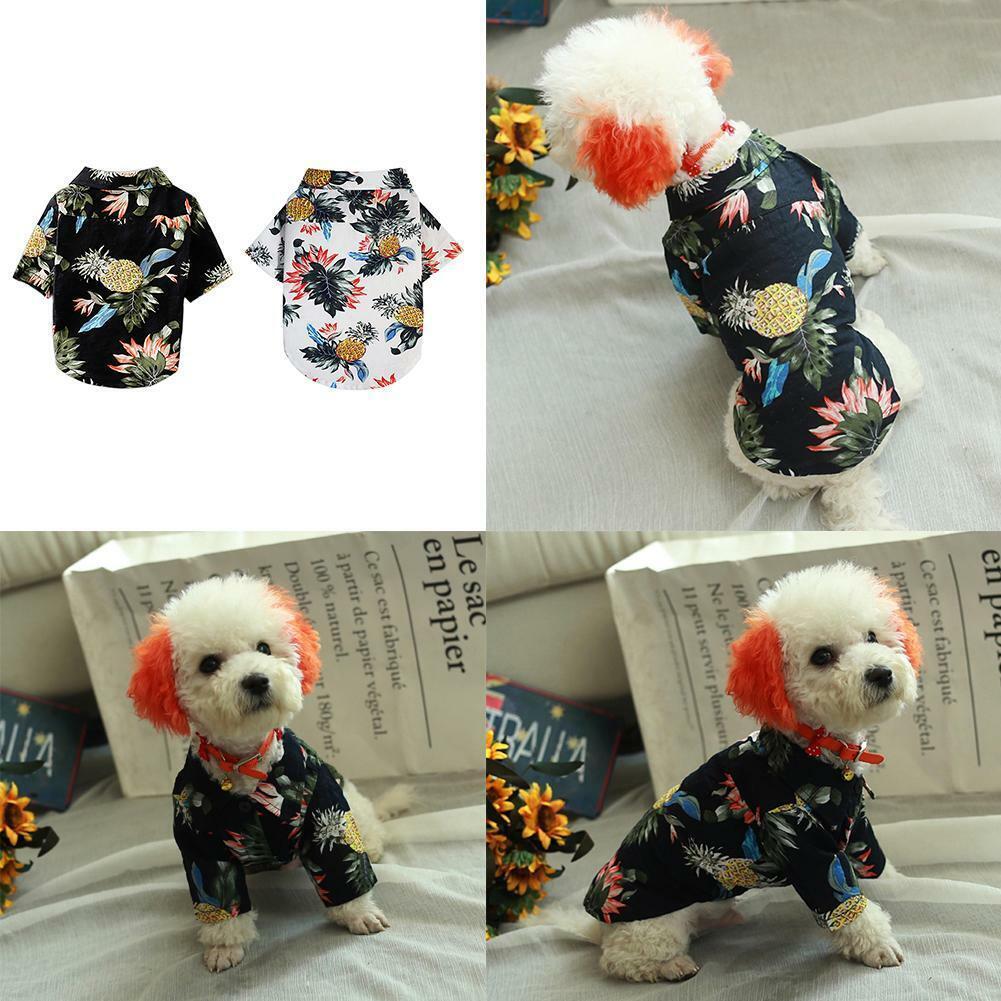 Pet Puppy Summer Hawaiian Style Shirt Dog Cat Pet Kitten Clothes Vest T Shirt 7