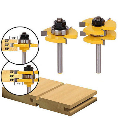 """2x Matched Tongue & Groove Router Bit Set 3/4"""" Stock 1/4"""" Shank Woodworking New 3"""