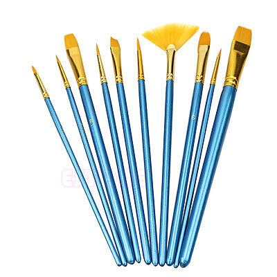 Acrylic Nylon Hair Watercolor Flabellum Pointed Tip Artists Paint Brush 10Pc Set