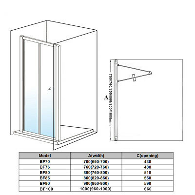 Bathroom Bi Fold Shower Door Enclosure Glass Screen FREE NEXTDAY DELVIERY 5