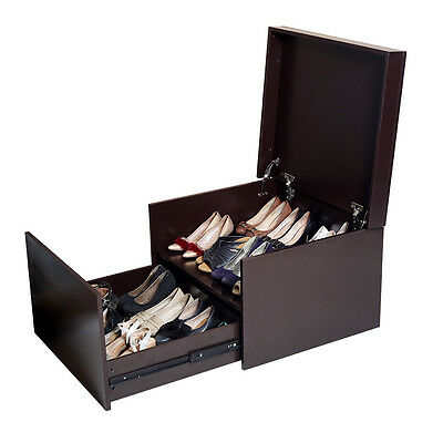 3 of 7 Brown Wood Shoe Cabinet Organized Shoe Storage Box Bench Rack with Two Layers  sc 1 st  PicClick & BROWN WOOD SHOE Cabinet Organized Shoe Storage Box Bench Rack with ...