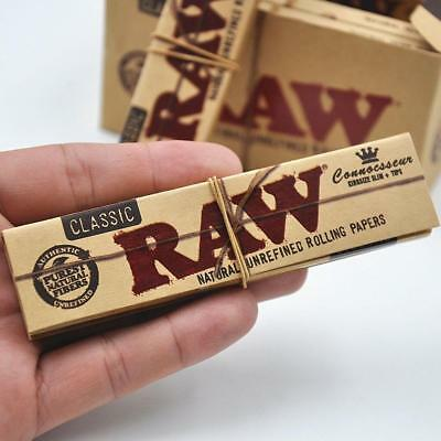 Raw Classic Connoisseur Kingsize Slim Papers + Tips - Smoking Tobacco Rolling 6