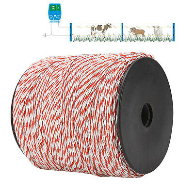 1000m Roll Polywire Electric Fence Fencing Stainless Steel Poly Wire Insulator 3