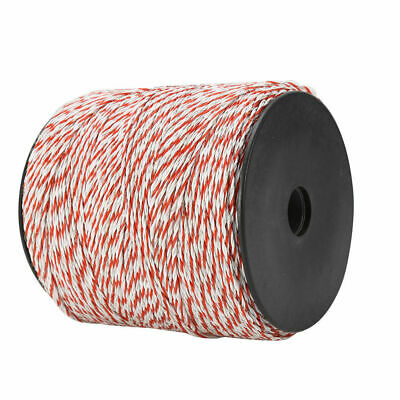 4x500m Roll Electric Fence Energiser Stainless Steel Poly Wire Insulator Rope 8