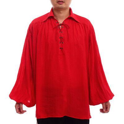 Renaissance Men Medieval Shirt Poet Pirate Vampire Colonial Gothic Shirt Lace-up