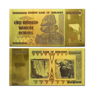 Zimbabwe 100 Trillion Dollars Banknote Gold Plated Pure 24K Gold Coloured 4
