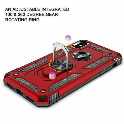 For iPhone XR 7 8 11 Pro Max Shockproof 360 Magnetic Ring Stand Armour Case 3