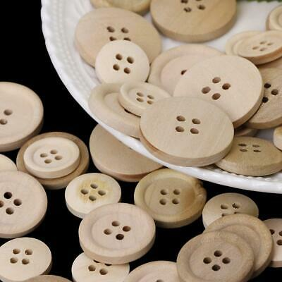 50 Pcs Mixed Wooden Buttons Natural Color Round 4-Holes Sewing Scrapbooking DIY 7