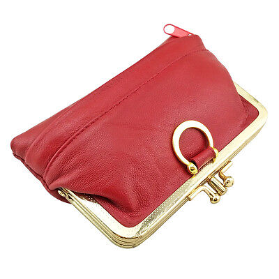 Women Genuine Leather Coin Purse Hasp Small Wallet Card Holder Bag 12*8.5*1.3cm 4