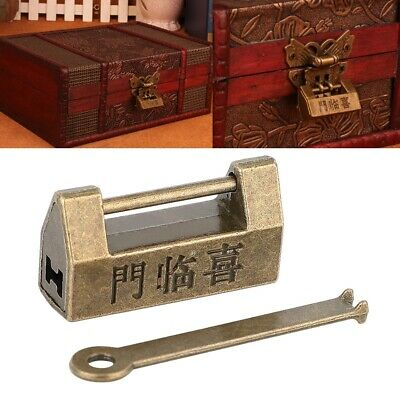 1pcs Old Vintage Antique Style Mini Chinese Copper Padlocks Key Lock for Jewelry 2
