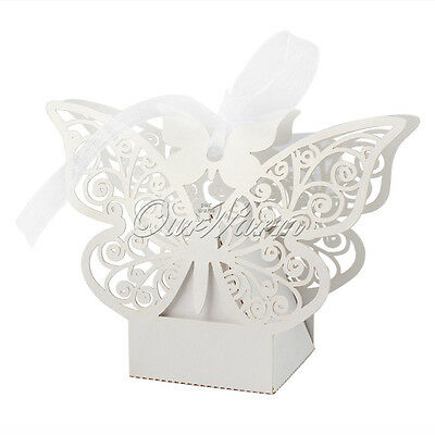 100×Paperboard Butterfly Gift Bag Candy Box Garden Wedding Party Favors Boxes 5