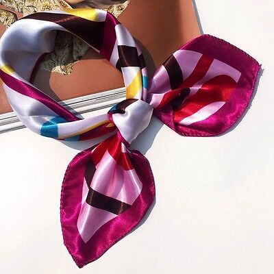 Small Vintage Head Neck Hair Tie Band Women Ladies Square Silk Feel Satin Scarf 10