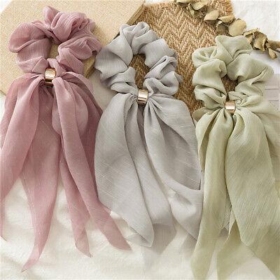 Double Layer Chiffon Bow Long Ribbon Scrunchie Hair Scarf Rubber Band Hair Tie @ 11