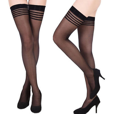 Damen Strümpfe Stockings Halterlos Nylons Straps Overknee Strumpfhosen Dessous 3