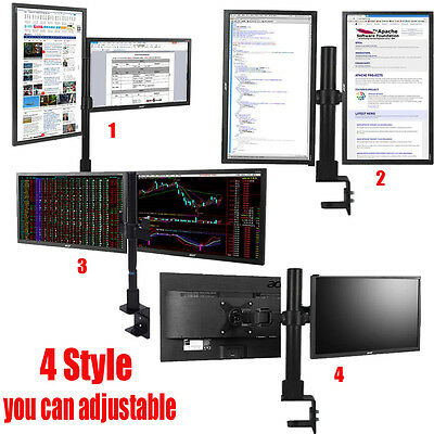 Dual HD LED Desk Mount Monitor Stand Bracket 2 Arm Holds Two LCD Screen TV 13-27