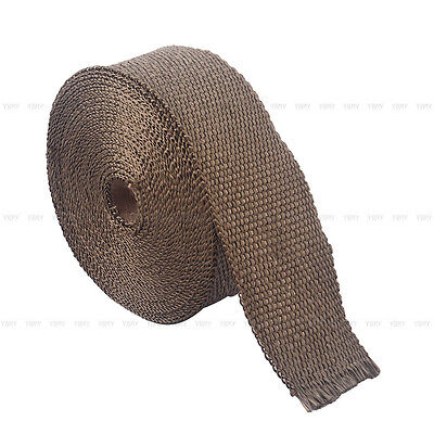 2000F EXHAUST HEAT WRAP TITANIUM Gold 10M X 50MM  + 10 STAINLESS TIES INSULATION 5
