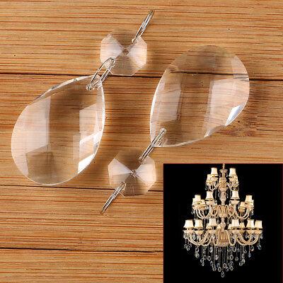 10Pcs Clear Crystal Glass Chandelier Lamp Parts Prisms Pendant Drops Decor 38MM 2