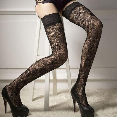 Mode Damen Halterlose Netz Feinstrumpf Spitze Strümpfe Stockings Strapsstrümpfe