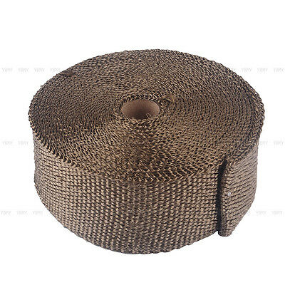 2000F EXHAUST HEAT WRAP TITANIUM Gold 10M X 50MM  + 10 STAINLESS TIES INSULATION 3