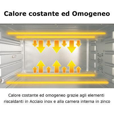 Forno Fornetto Elettrico Ventilato 30 litri 1600 W Luce Interna Timer Girarrosto 7