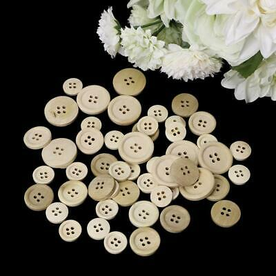 50 Pcs Mixed Wooden Buttons Natural Color Round 4-Holes Sewing Scrapbooking DIY 5