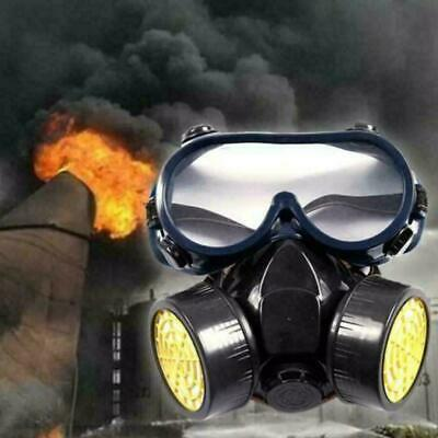 Emergency Respirator Mask Chemical Gas Mask with Goggles Dual & 2 Protection 2