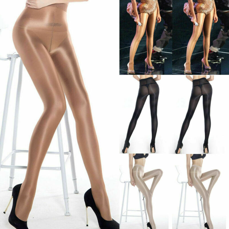Seamless Women Pantyhose Stocking Oil Glossy Shiny Sheer Tights Crotch/Crotchles 3
