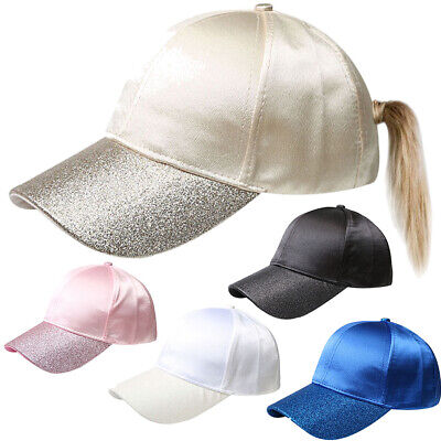 Glitter Ponytail Baseball Caps Women Messy Bun Adjustable Snapback Hip Hop Hat 3