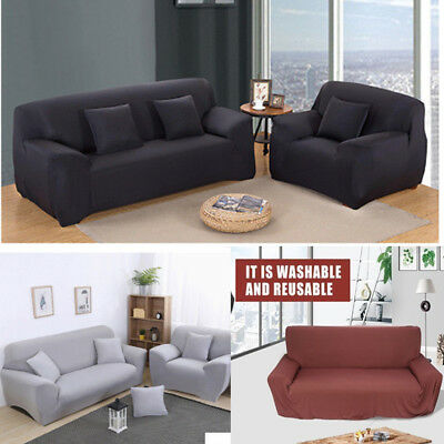 1/2/3/4 Seater Stretch Elastic Fabric Sofa Cover Couch Covers Spandex 5
