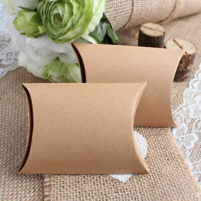 100x Wedding Candy Box Gift Boxes Paper Kraft Pillow Shape Bag Event Party Favor 4
