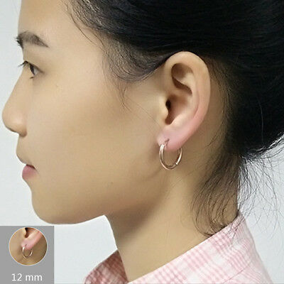 2Pcs Men Women Stainless Steel Hoop Huggie Ear Helix Cartilage Stud Ring Earring 6