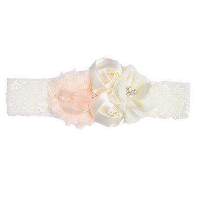 Newborn Baby Girl Pearl Lace Flower Headband Elastic Hair Band Kid Soft Headwear 2