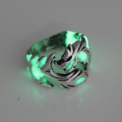 Unique Cool Mens Boys Luminous Dragon Ring Vintage Jewelry Club Pub Band Ring 7