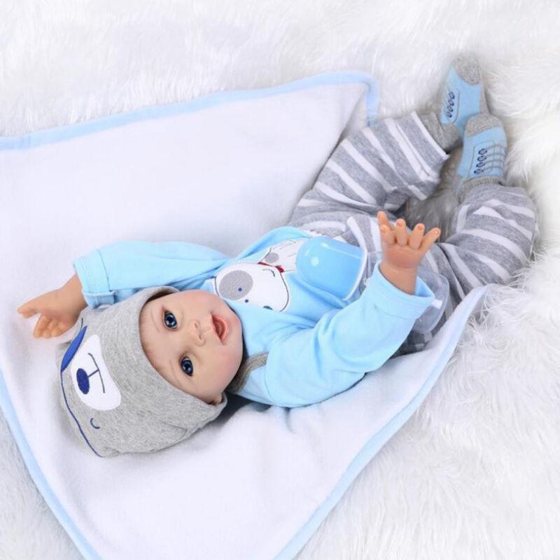 """AU! infant Toddler infant Dolls Handmade Lifelike Silicone Vinyl Baby Boy 22"""" 3"""
