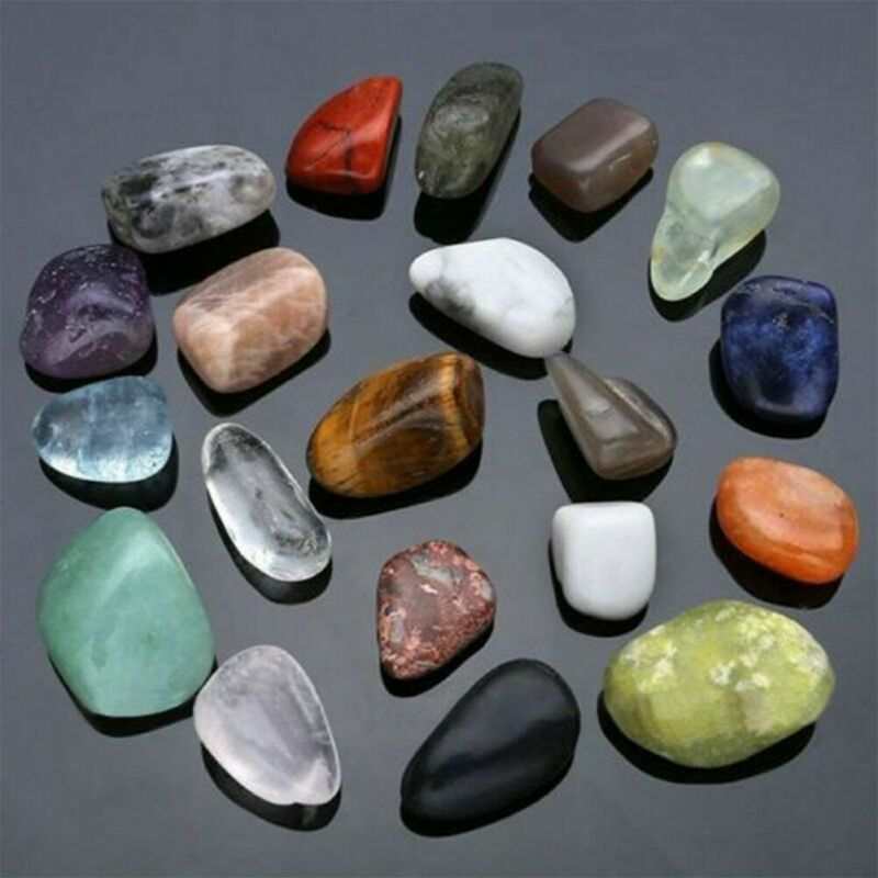 20pc Healing Reiki Polished Chakra Stone Display Crystal Gemstone Collection Set 2