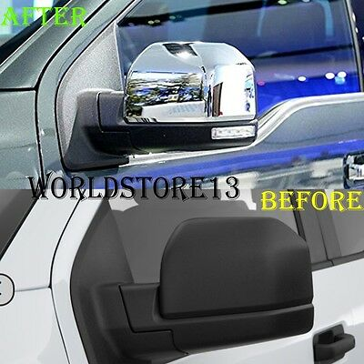 Abs Chrome Rear View Mirror Cap Cover Trim For Ford F