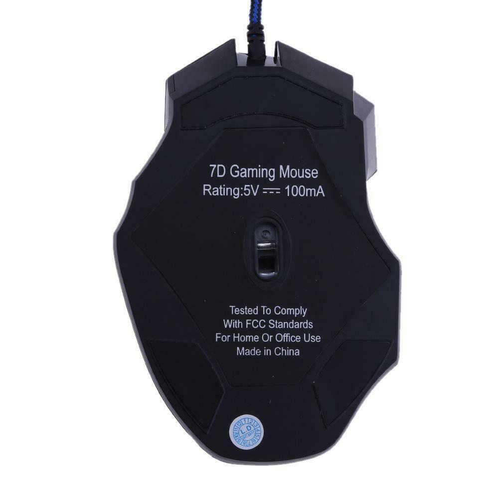 5500DPI LED Optical USB Wired Gaming Mouse 7 Buttons Gamer Computer Mice Black 10
