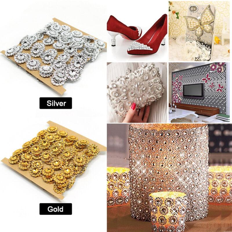 1 Yd DIY Rhinestone Trim Crystal Chain Beaded Applique Sew/Iron on Bridal Dress Embellishments & Finishes