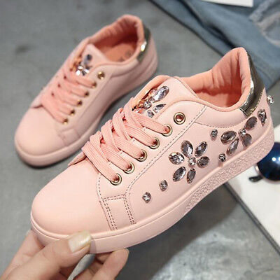New Women Spring Autumn Rhinestone Lace UP Sport Low Top Shoes Casual Sneakers 2